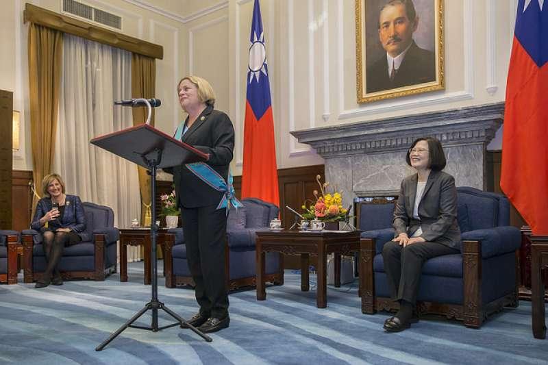 總統蔡英文2日頒授美國聯邦眾議院外交委員會榮譽主席羅斯蕾緹南「特種大綬卿雲勳章」,並表示這都要歸功美國國會對台灣的堅定支持。(總統府提供)