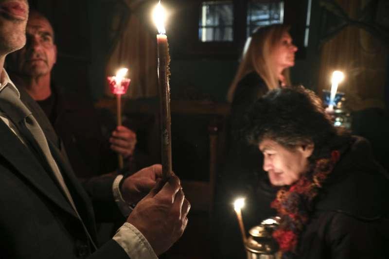 東正教教徒慶祝復活節。(美聯社)