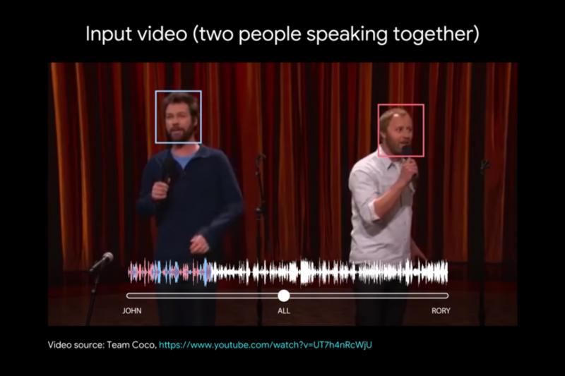 Google研究人員,利用深度學習、影像模型打造出一套系統,能夠辨識出畫面中說話人物的聲音,依照需求強化特定人士的聲音,消除其他人聲、環境音。(圖/截自youtube)