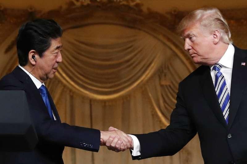川安會。日本首相安倍晉三與美國總統川普。(美聯社)