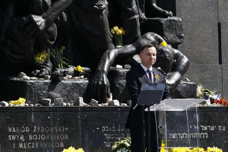 2018年4月19日,波蘭總統杜達出席華沙猶太區抗暴的75周年紀念儀式。(AP)