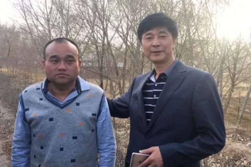 被關押3個多月之後,譚秦東(左)交保候審。(BBC中文網)