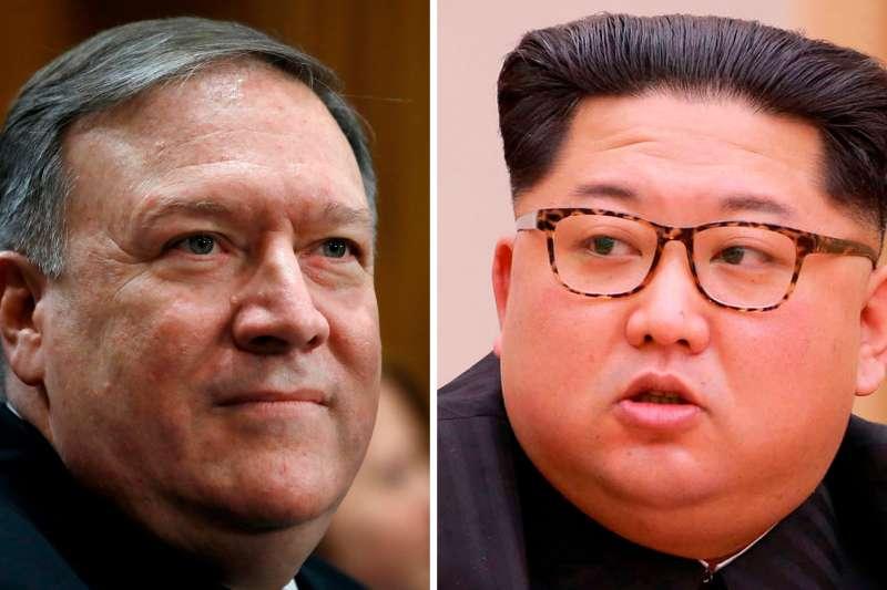 北韓最高領導人金正恩與美國中央情報局長龐畢歐(AP)
