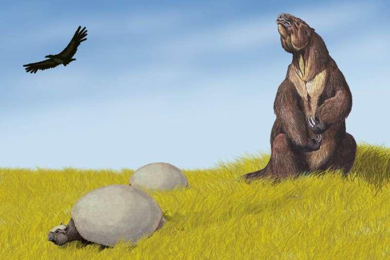 大地懶(Megatherium)(Lebensbild von Megatherium in der Pamparegion@Wikipedia / CC BY-SA 3.0)