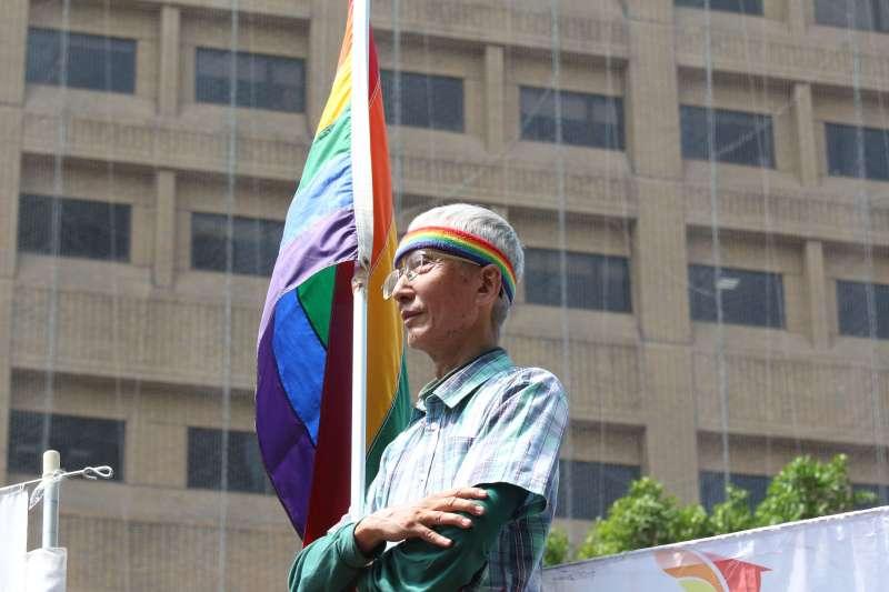 20180423-台灣伴侶權益推動聯盟舉辦「迎戰反同公投-我們都是利害關係人」記者會,訴願人祁家威發出席。(陳韡誌攝)