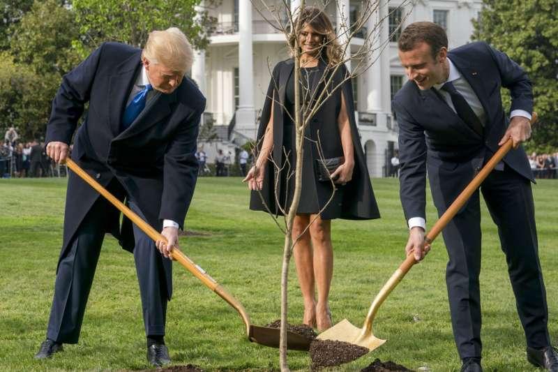 2018年4月23日,法國總統馬克宏造訪美國,進行國是訪問,兩人特別在白宮種下從法國帶來的橡樹苗。(AP)