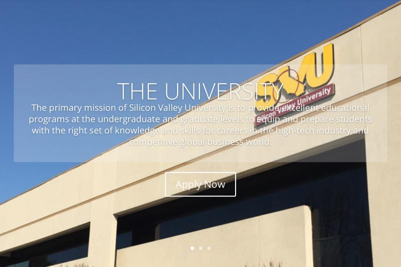 矽谷大學網站首頁。(翻攝網路)