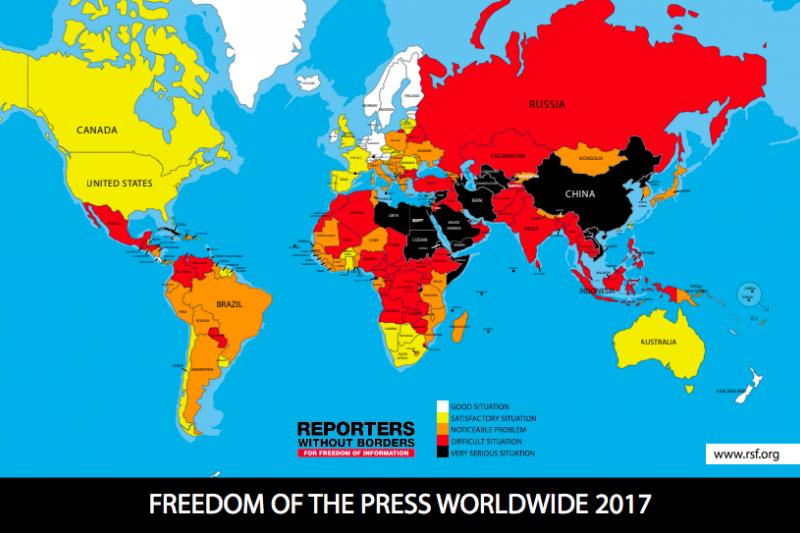 無國界記者組織(RSF)25日公布「2018世界新聞自由指數」(World Press Freedom Index)排名,評估的180個國家中,今年台灣排名上升3位至第42名,依然是亞洲第一。(取自「無國界記者組織」官網)