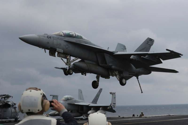 美韓聯合軍演「鷂鷹」岀動F/A-18E/F超级大黄蜂。(美聯社)