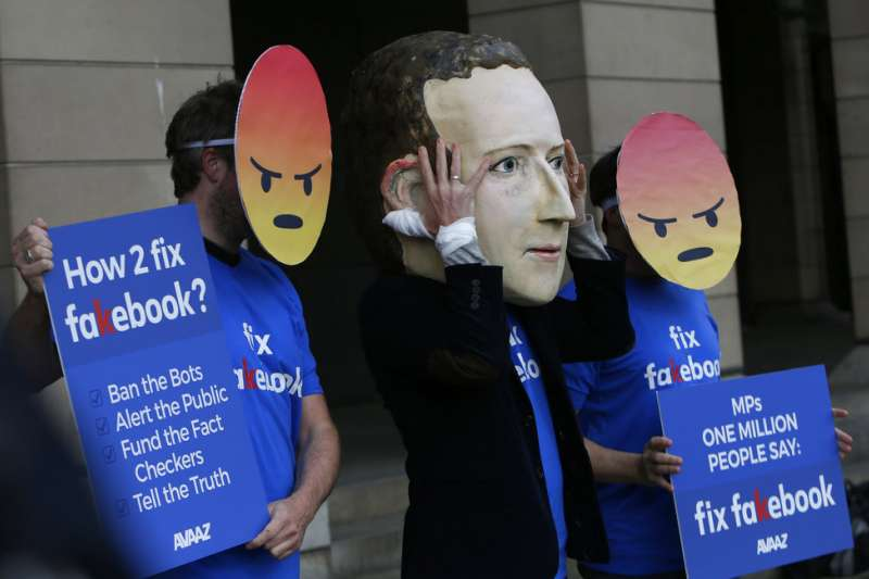 臉書與祖克柏。(美聯社)
