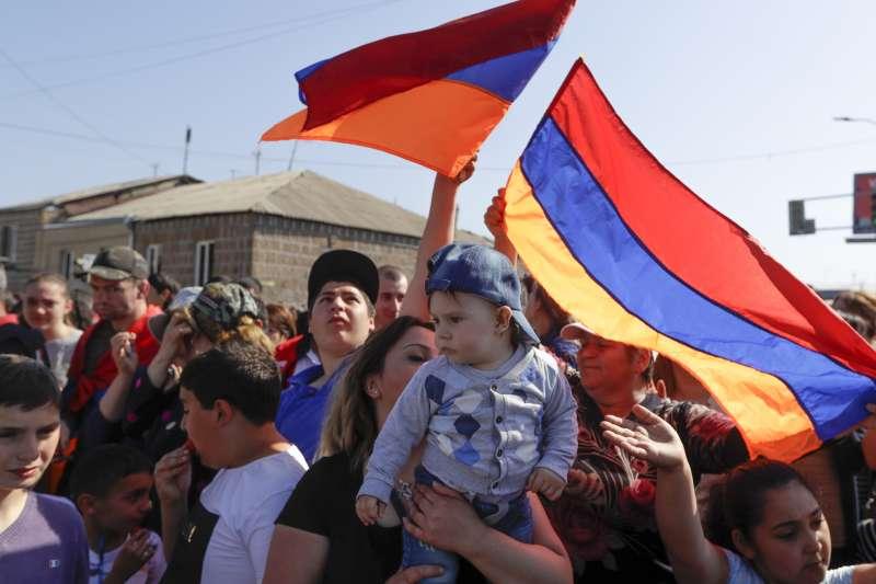2018年5月2日,亞美尼亞政爭再度引發大規模示威抗議(AP)