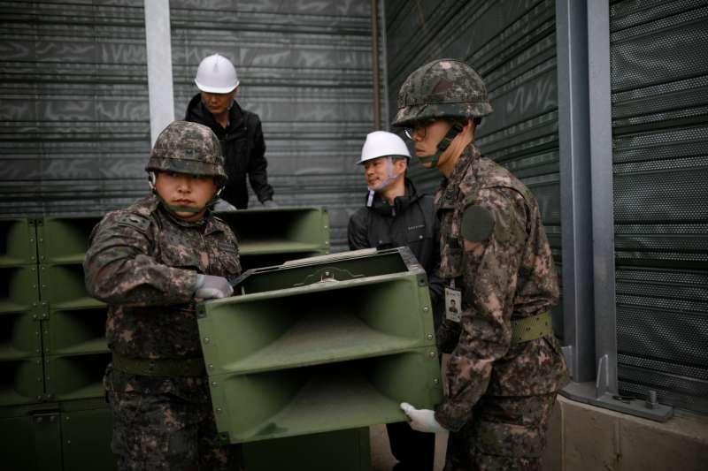 2018年5月,兩韓板門店之後,南韓軍方撤除非軍事區的的擴音喊話設備(AP)