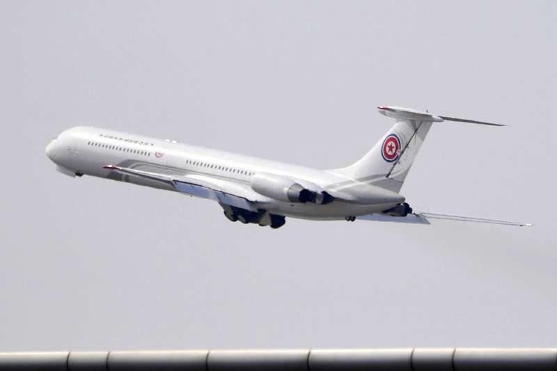 2018年5月8日,金正恩再度訪問中國,搭乘的專機從大連返回平壤。(AP)