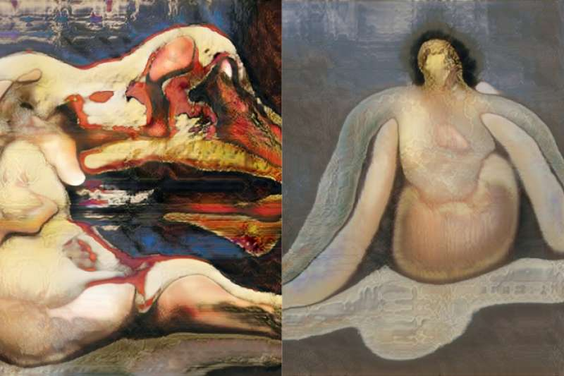 年輕實習生挑戰用AI畫出「裸女名畫」,卻意外創造出超現實的獵奇作品。(圖/DrBeef_@twitter)