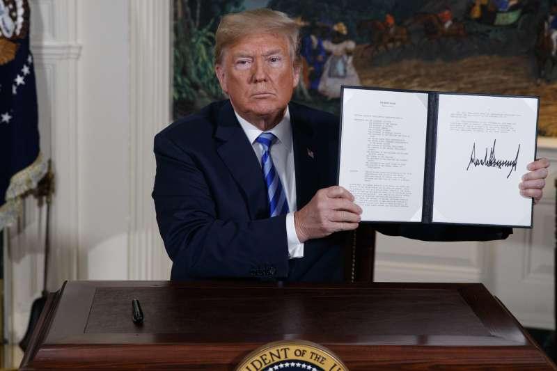 2018年5月8日,美國總統川普簽署總統備忘錄宣布退出伊朗核子協議(AP)