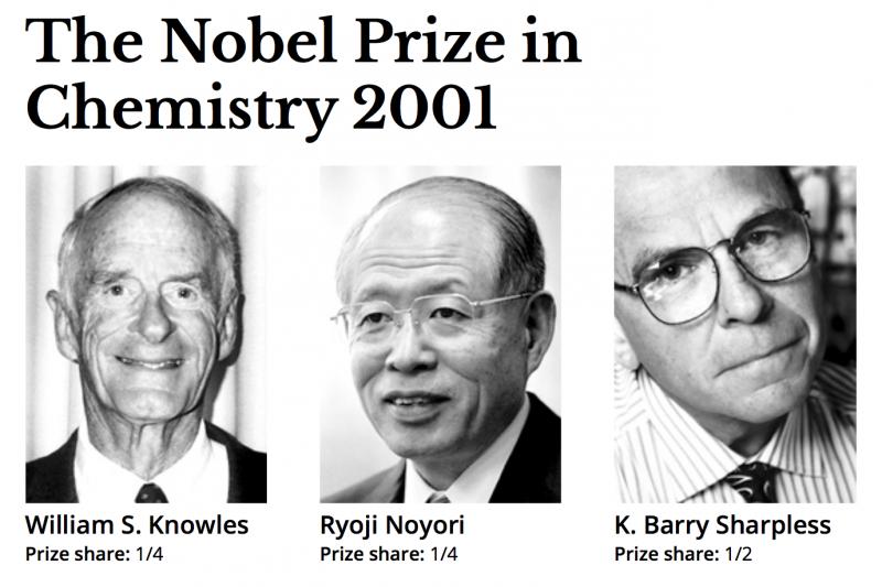 2001年諾貝爾化學獎得主:威廉・斯坦迪什・諾爾斯、野依良治、巴里・夏普萊斯。