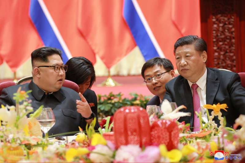 2018年5月,北韓最高領導人金正恩訪問中國大連,與習近平會談(朝中社)
