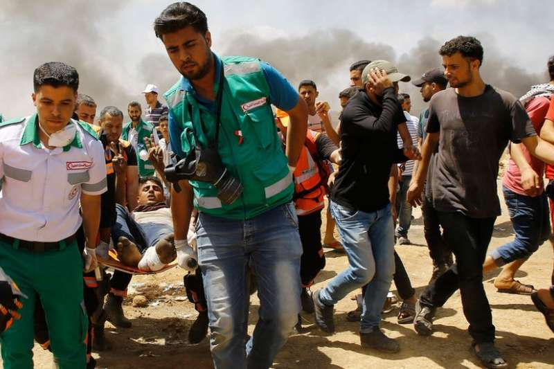 巴勒斯坦方面稱數百人在5月14日的加薩巴以衝突中受傷。(BBC中文網)