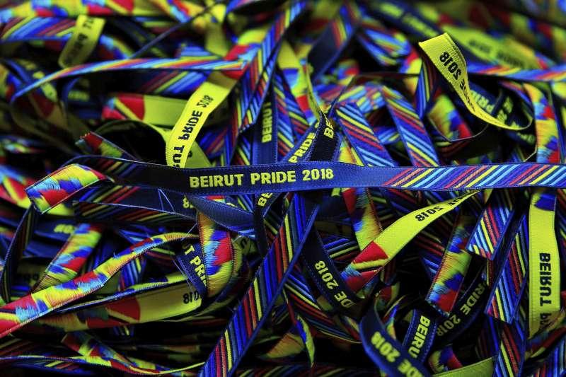 2018年5月15日,黎巴嫩LGBT族群舉辦同志驕傲運動,因警方要求停辦而喊卡。(AP)