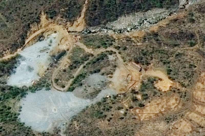北韓北部豐溪里核子試驗衛星圖。(美聯社)