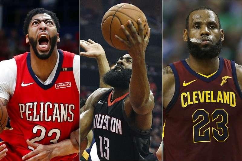 NBA今年年度MVP獎由鵜鶘戴維斯(左) ,火箭哈登(中)與騎士詹姆斯3人角逐。(美聯社)
