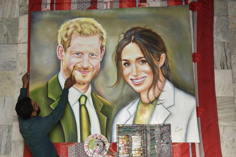 2018年5月19日,英國王室婚禮登場,哈利王子與美國女星梅根喜結良緣(AP)