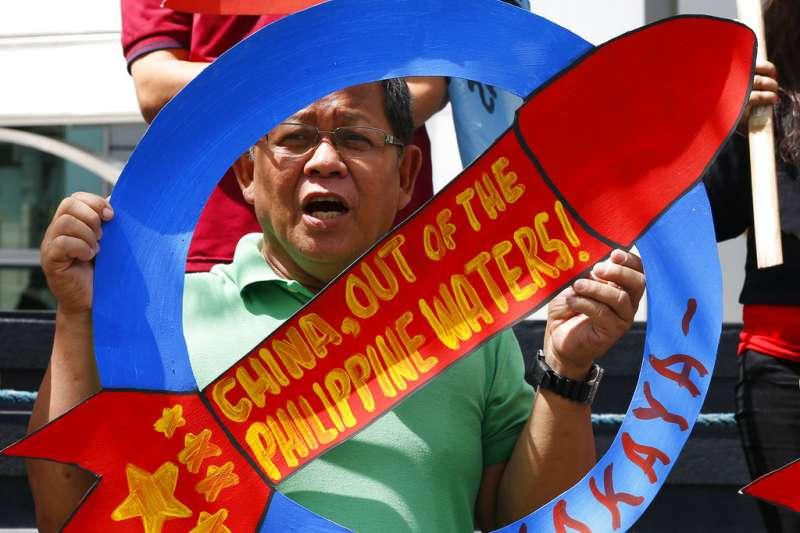 2018年5月18日,菲律賓民眾在首都馬尼拉抗議中國在南海侵占菲律賓聲索的島嶼。
