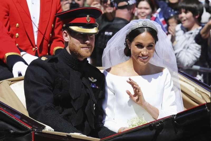 哈利王子與梅根共結連理。(美聯社)
