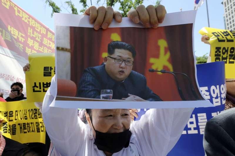 2018年5月,南韓社會爆發反北韓示威(AP)