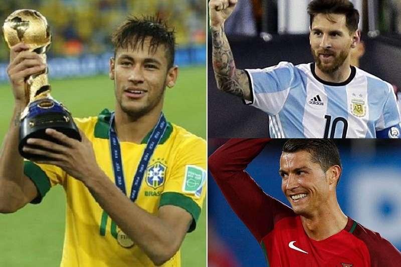 巴西內馬爾(左) ,阿根廷梅西(右上)與葡萄牙C羅是世足金靴獎大熱門。(美聯社)
