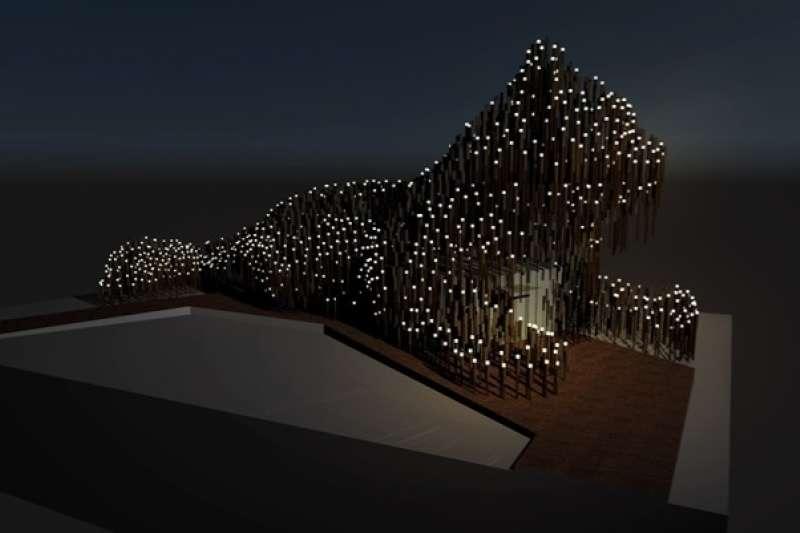為讓遊客感受夜間視覺體驗,以回收瓦楞紙製成的紙管內設置750顆環保LED太陽能燈作為燈光照明,凸顯石虎夜間曲面與姿態之美。(圖/台中市政府提供)