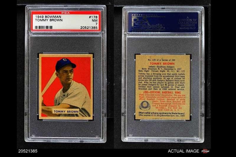前布魯克林道奇布朗是大聯盟史上最年輕(17)打出全壘打球員。(圖取自eBay網站)