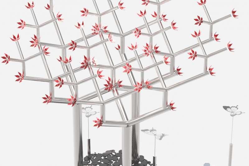 「奇幻森林樂園」中的機械意象樹,展現城市欣欣向榮的意象,傳達人機互動及機械美學。(圖/台中市政府提供)
