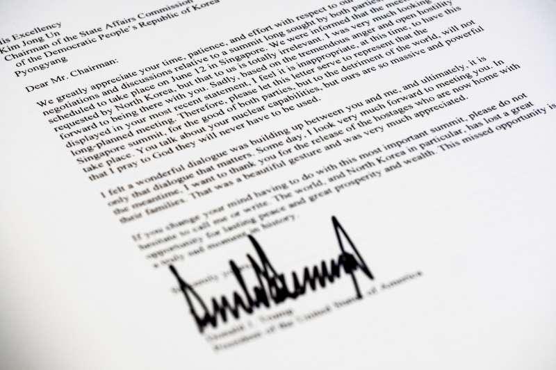 2018年5月24日,美國總統川普致北韓國務委員會委員長金正恩函(AP)