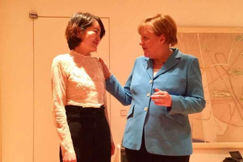 德國總理梅克爾在北京會見人權律師王全璋的妻子李文足等709維權人士。(李文足臉書圖片)