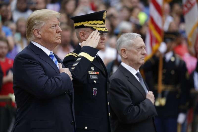 美國總統川普與國防部長馬提斯。(美聯社)