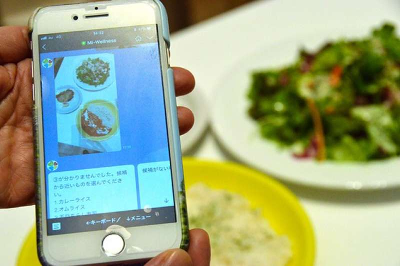 拍攝食物照傳送後,AI便會讀取菜單並分析營養攝取量。(圖/潮日本提供)