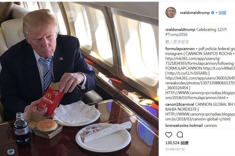 美國總統川普以愛吃速食聞名。(美聯社)