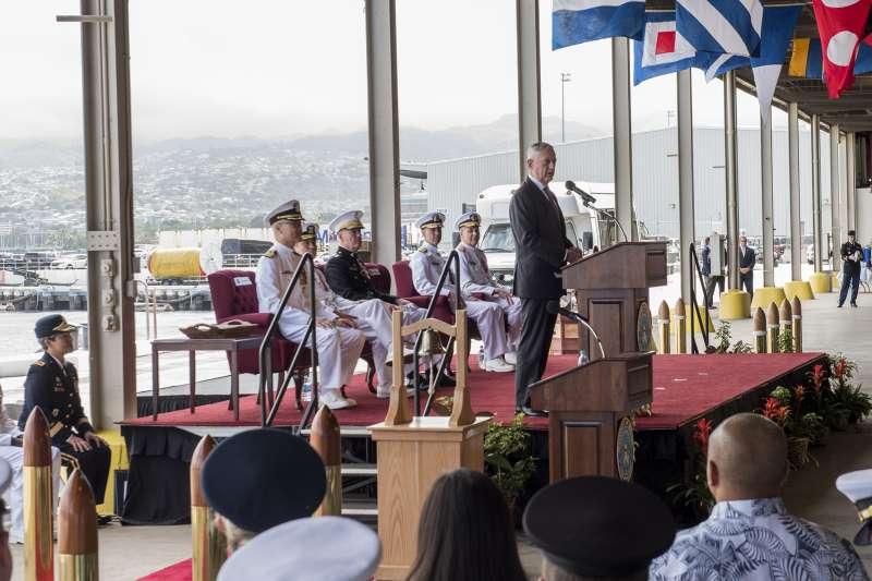 2018年5月30日,美國國防部長馬提斯主持太平洋司令部更名為「印太司令部」典禮(U.S. Pacific Command@flickr / CC BY-NC-ND 2.0)