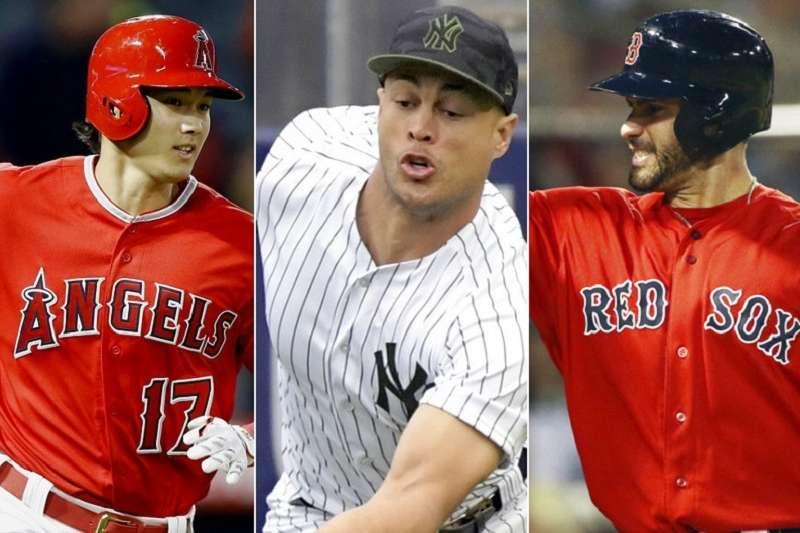 天使大谷(左)將與洋基史坦頓(中)紅襪馬丁尼茲,競爭明星賽美聯先發指定打擊位置。(美聯社)