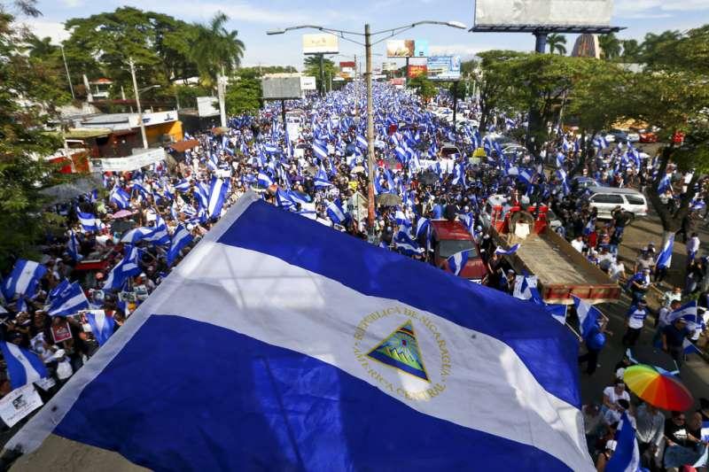 尼加拉瓜母親節發動大規模抗議。(AP)