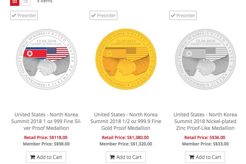 新加坡造幣廠推出的川金會紀念章。(新加坡造幣廠官網)