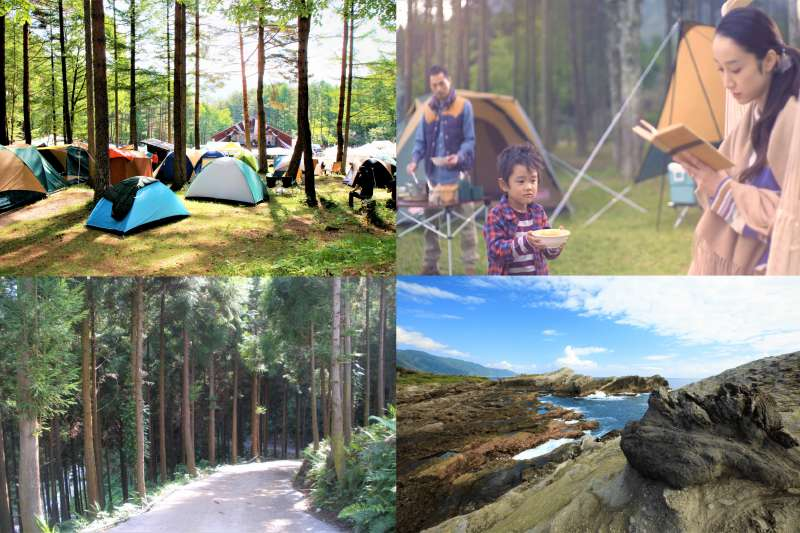 沒有足夠的裝備怎麼辦?露營區內有什麼有趣的設施嗎?五大台灣露營區,讓露營變得輕鬆又有趣!(圖/左上hiroshi ataka@flickr、右上取自youtube、左下右下女子學提供)