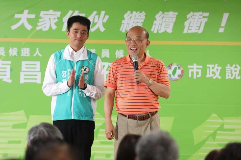 民進黨新北市長參選人蘇貞昌(右),今(9)再緊咬國民黨陣營「市政成績不佳」。(蘇貞昌辦公室提供)