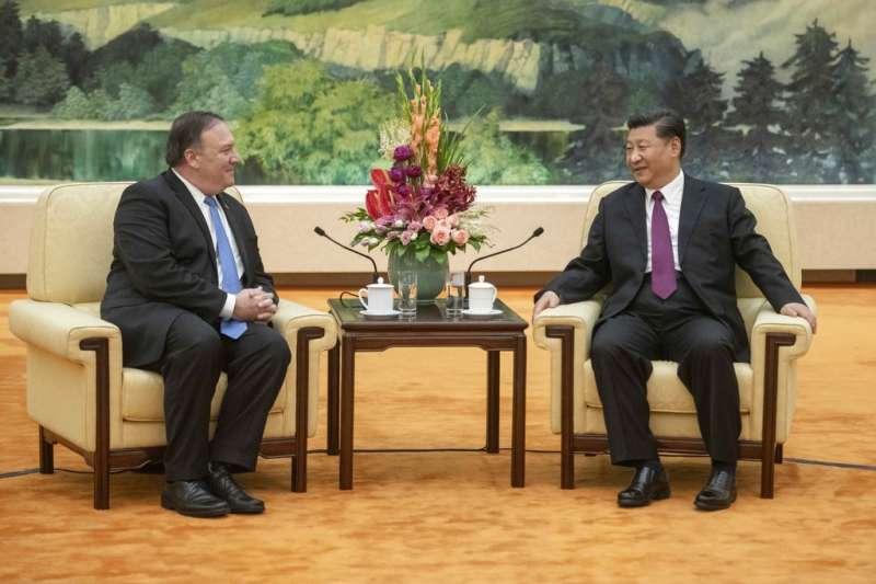 美國國務卿與中國國家主席習近平會晤。(AP)
