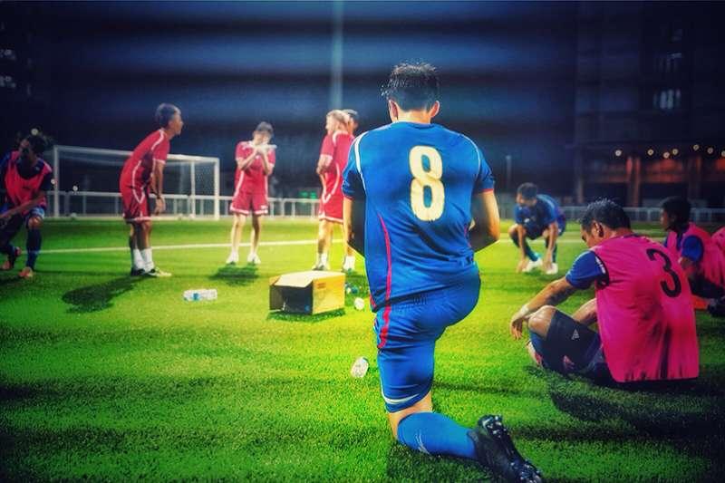 片中除了介紹陳昌源在歐洲頂級聯賽的奮鬥歷程,也收錄了陳昌源披上中華隊戰袍,在巴林一役踢出讓台灣球迷驚心動魄的一場比賽。(圖/敢夢者團隊提供)