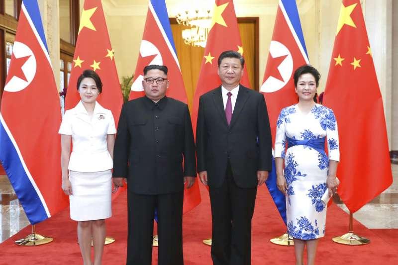 金正恩今年3度訪問中國,會見習近平。(美聯社)