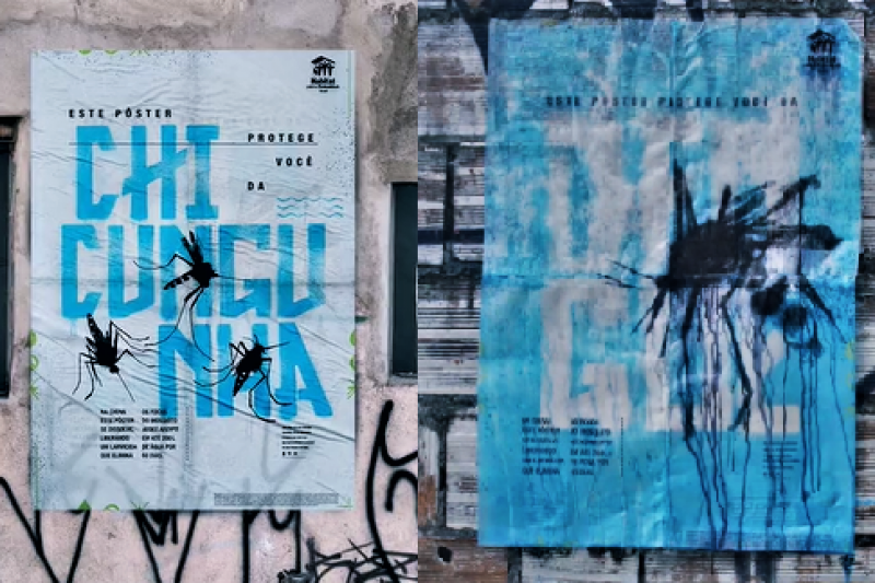 隨著雨水滑落,這張海報就能搖身一變成為蚊子剋星。(圖/截自Vimeo)