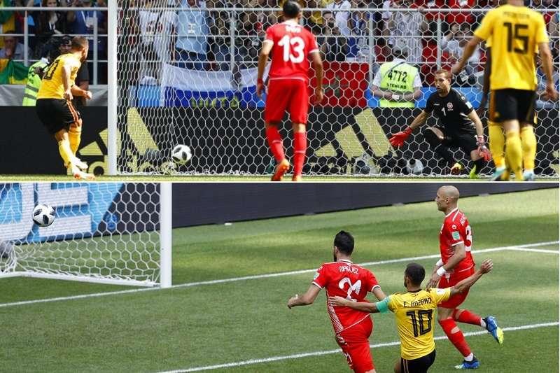 比利時阿札爾於左翼與右翼各突破進了一球。(美聯社)