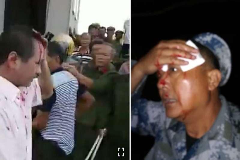 網傳老兵被打傷的照片。